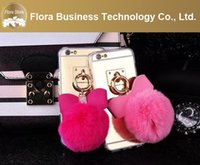 Wholesale Wholesale Alum - 2016 New Design Alum Mirror Back with fur pom & butterfly Cell Phone Cases Mobile Cover For iPhone 5 6 6 Plus China wholesale