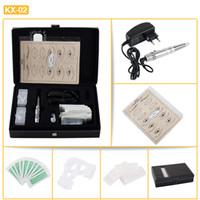 Wholesale Eyebrow Power Supply - Free Shipping KX-02 Professional Permanent Eyebrow Lip Eyeline Makeup Machine Kit with Tattoo Machine Gun Needles Rings Power Supply