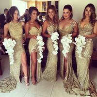 Wholesale Trumpet Skirt For Wedding Dress - 2017 Gold Sequin Bridesmaid Dresses Mermaid 5 Styles For Choice Split Skirt Gold Maid of Honor Dresses Custom Made For Wedding Party Dress