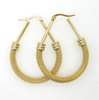Wholesale Hoop Wire - Brand New Fashion Design Surgical Stainless Steel Twist wire Mesh Drop Hoop Earring Never Fade Gold Tone Women 45mm*30mm