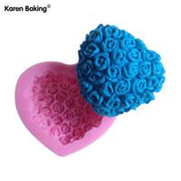 molde de casamento de sabão venda por atacado-Atacado-Rattan Bolo de Flores Bolo fondant em forma de decoração do bolo de casamento molde de sabão molde de silicone