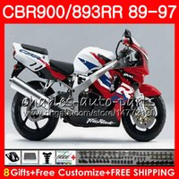 Wholesale fairing cbr893 92 resale online - CBR RR For HONDA white blk CBR900RR CBR893RR NO27 CBR893 RR Fairing