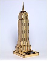 Wholesale Empire Toys - World famous buildings Solar energy Wooden Jigsaw 3D Puzzle Empire State Building Xmas Gift Toys for children Learning Education