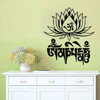 Wholesale Mani Media - Mantra Om Mani Padme Hum Wall Stickers Buddha Lotus Wall Decor Art Decals Vinyl Removable Home Decoration Wall Murals