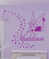 Wholesale Tinkerbell Stickers Bedroom - Customer-made tinkerbell vinly wall stickers kids children personalized home decaration decor mural -You Choose Name and Color