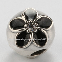 Wholesale Glass Cube Clips - 925 Sterling Silver Flower Clip Charm Bead with Black Enamel Fits European Pandora Jewelry Bracelets & Necklaces
