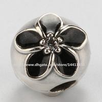 siyah emaye çiçek kolye toptan satış-Siyah Emaye ile 925 Ayar Gümüş Çiçek Klip Charm Boncuk Avrupa Pandora Takı Bilezikler Kolye Uyar
