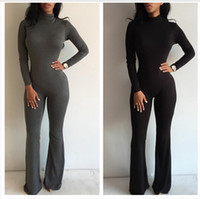 Wholesale Black Jumpsuit Boot Cut - New women prom jumpsuit bodysuit boot cut sexy fashion romper club fitness jumpsuits drop shipping