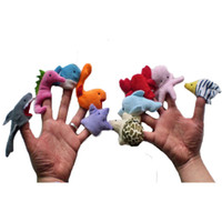 Wholesale Plush Soft Toys - 10Pcs lot Soft Ocean Animal Puppet Baby Finger Plush Toys Octopus Dolpin Shark Various Cartoon Animal Finger Puppet Baby Educational Toys