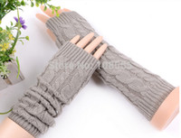 Wholesale korean wool gloves - Wholesale-2015 Korean Autumn and winter embossing face High quality Wool hook flower Inpair Knit Extended warm Arm Warmers #1191
