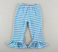 Wholesale Striped Pants Cheap - Hot Sale cheap Kids Clothing pants ,Blue White Striped Baby Girls Pants With Ruffle 5pcs lot