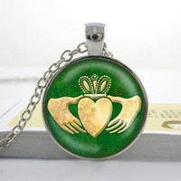 Wholesale Wholesale Claddagh - Claddagh Celtic Necklace Glass Art Pendant Charm Gifts for Her Irish green gold patrick's day Art Glass Cabochon Necklace P-136