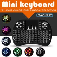 teclado inalámbrico de color al por mayor-Mini Teclado Inalámbrico 7 Color LED Retroiluminado Ratón de Aire Control Remoto Touchpad Rii i8 2.4GHz Para Android TV Box Tablet PC S905W X96 Mini T95Z