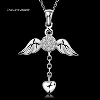 herzkunstentwurf großhandel-N674 neuer schöner Entwurf 925 Sterlingsilberengel wings Herz-hängende Halskette mit Zircon-Art- und Weiseschmucksache-Hochzeits-Geschenken geben Verschiffen frei
