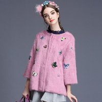 cashmere cardigan beaded - MIUCO2015 new winter female heavy hand beaded sequins colorful butterfly mink cashmere knit cardigan jacket