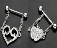 Wholesale Love Nipple Ring - Surgical Steel Hollow Out LOVE Heart Apple Chain Pendant Piercing Nipple Rings Nipple Bar Clip On Piercing Nipple Shield Ring Jewelry