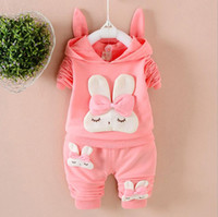 Wholesale leopard baby hats - Baby Clothing Girl Rabbit Hoodies+Pants 2 Pieces Suits Lovely Rabbit Ears Hat 3 Colors 4 S L