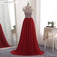 vestido de gasa f al por mayor-2019 F / W Nuevo Bling Bling Rojo oscuro Gasa Vestidos largos de noche Cuentas brillantes Lentejuelas Cremallera espalda Barrido de tren Vestidos de baile Vestidos
