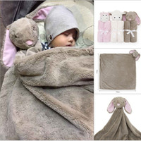 Wholesale Fabric Baby Bedding - 7styles Baby Blanket Cartoon Rabbit Sheep Elephant Bear Plush Toy Newborn Bedding Soft Comfortable Blankets Kids Gift
