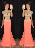 Wholesale Short Sleeve Mermaid Maxi Dress - 2017 Mermaid Prom Dresses Coral High Beaded Collar Top Rhinestone Chiffon Arabic Illusion Bodice Maxi Formal Evening Gowns BA2012