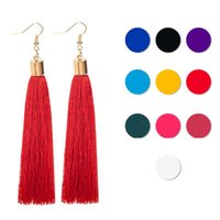 Wholesale ethnic earrings sale - 12 Colors Hot Sale Fringed Statement Earrings Ethnic Multicolored Long Hanging Drops Earing Jewelry Vintage Tassel Earrings For Women