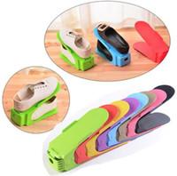 ingrosso multi rack di scarpe-Scarpiera Storage Wholesale Regolabile Home Use Modern Double Shoes Rack Soggiorno Comodo Shoe Box Organizer Stand Shelf