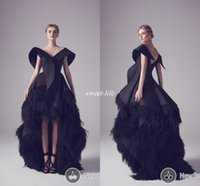 Wholesale High Low Feathered Prom Dresses - Krikor Jabotian Black Vintage Evening Dresses Ball Gown Ruffles Satin Feather Backless High Low Women Formal Wears Occasion Prom Dress 2016