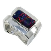 Wholesale Silver Square Bezel Ring - Luxury square opal with square shank in 925 silver fashionable dignity ring for lady for R420.
