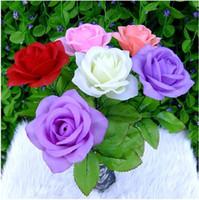 ingrosso rose di seta fiori viola-Artificiale fiore di seta rosa Bellissimo bouquet da sposa Arredamento per la casa Ornamento di Natale Ripresa Prop Supplies Spedizione gratuita