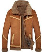 Wholesale Camel Color Winter Coat Men - Fall- New Men Suede Leather Jackets Winter Fur Coats Size S-4XL Vintage Camel   Coffee Man Wool Outerwear Warm Fleece Lining