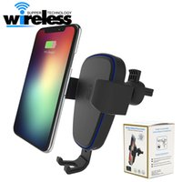 Wholesale 9v Car - Qi Wireless Charger Car Mount Phone Holder Phone Air Vent Holder Wireless Car Charger 9v 1.67A 10w For iphone 8 X Samsung S7 s8 plus plus