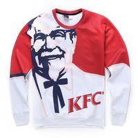homens alto hoodie pescoço venda por atacado-Moda de alta Qualidade Outono Camisola dos homens 3d KFC Impresso Gráfico Tripulação Pescoço Camisolas Pullover Hoodies