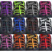 dantel ayakkabıları kilitler toptan satış-Çok Renkli Rahat Spor Elastik Ayakabı Yuvarlak Sneaker Koşu Atletik Emniyet Kilidi Ayakkabı Danteller Dizeleri SıCAK Ayakkabı Parçaları Aksesuarları SK447