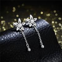 Wholesale Bell Flower Earring - Brand new sterling silver Hanging bell-shaped flower earrings DFMSE624women's 925 silver Dangle Chandelier wedding gemstone earrings factory