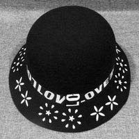 fieltro sombreros de cubo al por mayor-Autumn Winter Bucket Hats Gorras para Mujer Moda Ladies Wool Fedoras con Print Mujer Trilby Felt Hat Dome European Us GH-263