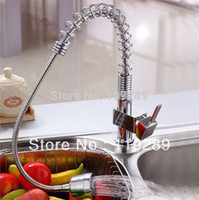 Wholesale Kitchen Sink tap water faucet with pull out flexible spray brass body chrome plating deck mounted Bar mixer faucet XK g8