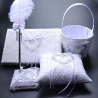 Wholesale Wedding Feather Pen Sets - Elegant Heart Shape Diamond White Bow Book Bearer Ring Pillow & Feather Pen Set Girl Flower Basket Wedding Suppliers Favor Full Set