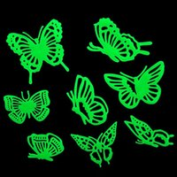 Wholesale Decorated Butterflies - Butterflies Glow in the Dark Fluorescent Plastic Home Decorate Wall Sticker Decorate House Luminous Bedroom PTSP