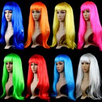 Wholesale Cheap Long Synthetic Hair Wigs - Anime Cosplay candy colors cheap synthetic hair wig cosplay costume long straight hair wigs for christmas new year party gift free shipping