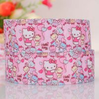 "Wholesale Diy Printing Balloons - 1""(25mm ) Kitty with balloon printed cartoon tape DIY handmade hairbow grosgrain ribbon free shipping"