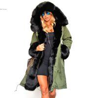casaco de trincheira com pele de inverno venda por atacado-Atacado-Novo 2016 Inverno Mulheres Trench Coats Faux Collar De Pele De Guaxinim De Algodão Acolchoado Forro Das Senhoras Com Capuz Outwear Quente Exército Verde 41