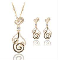 Wholesale Wholesale Rhinestone Mesh Dress - Gold mesh bicyclic pendant earrings + necklace suit dress banquet female jewelry wholesale