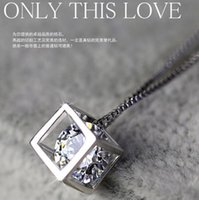 Wholesale Window Jewelry - 925 sterling silver pendants female love cube square window Korean love silver jewelry Necklaces Valentine's Day gift
