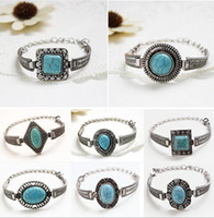 Wholesale Silver Turquoise Jewelry Box - 7 styles 2015 Bohemia Vintage turquoise jewelry Bracelet & Bangles Antique Silver Crystal Charm Pendant Bracelet