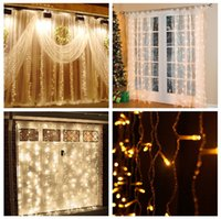 Wholesale Fairy Birthday Cards - In Stock + 9.8ft X 9.8ft 3M x 3M 300LEDs Lights Wedding Christmas String Birthday Party Outdoor Home Decorative Fairy Curtain Garlands