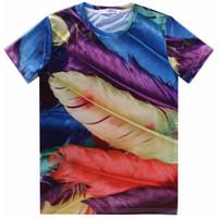 Wholesale Peacock Feather Shirt - Wholesale-fashion 2015 hip hop mens swag 3d t shirt women Peacock feathers Hamburger tops tshirt t-shirt t shirts men flowers casual-shirt