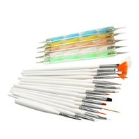 Wholesale Gel Nail Art Brushes - free shipping 20pcs Nail Art Design Set Dotting Painting Drawing Polish Brush Pen Tools E0Xc
