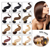 "Wholesale Hair Extensions Colors U Tip - Silky Straight 50g Prebonded Italian Keratin Nail Tip U tip Fusion Indian Remy Human Hair Extensions 100strands 16""-24"" 13 colors available"