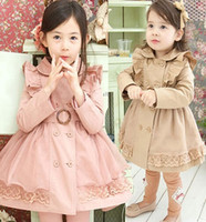 Wholesale Double Breasted Lace Coat - in stock children's fashion baby girls lace outerwear girls double breasted long coat lace trench coat double breasted girls ruffle coat