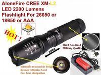Wholesale Anodized Batteries - USA EU Hot Sell E26 Hard anodized CREE XM-L2 2200Lumens 5-Mode CREE LED Flashlight Torch T6 + 6800mAh 26650 Battery charger